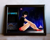 Galaga Video Game Pin Up Digital Printable Wall Art, 1980s Pop Culture, Arcade Game Room, Sexy Side Stripe Shorts, Short Hair Red Converse