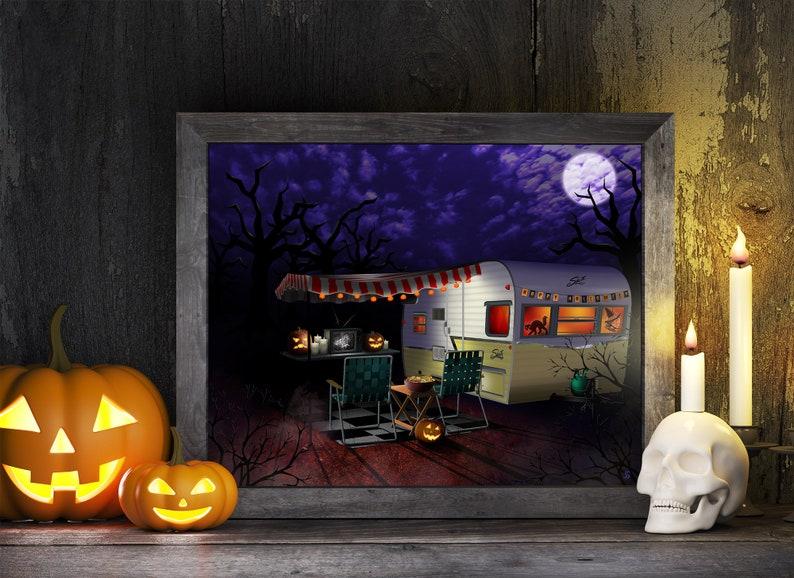 Halloween Vintage Camper Printable Art Retro Shasta Trailer image 0