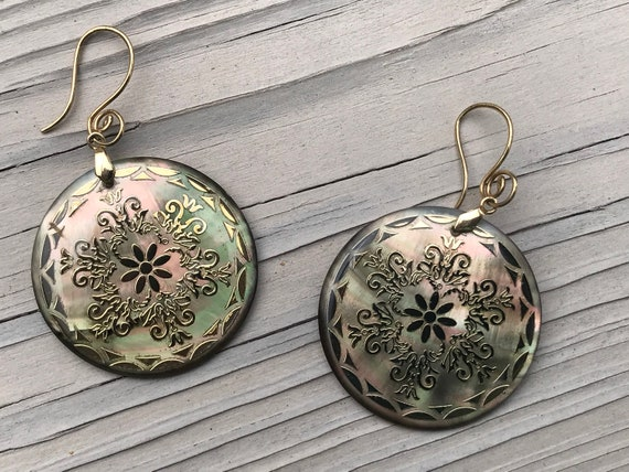 Pearlescent Abalone Seashell Drop Earrings with Go