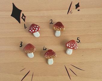 Hand painted resin mushroom pin badge
