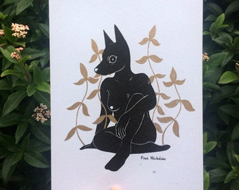 Riso Print Dog with Plants A5