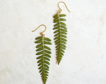 real fern earrings - resin leaf earrings - botanical earrings - real leaf earrings - woodland earrings - natural earrings - nature jewelry