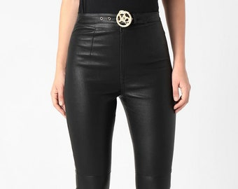 Long Sporty EMBROIDERED Trachten Leather Trousers Pants Buff Nubuck Leather