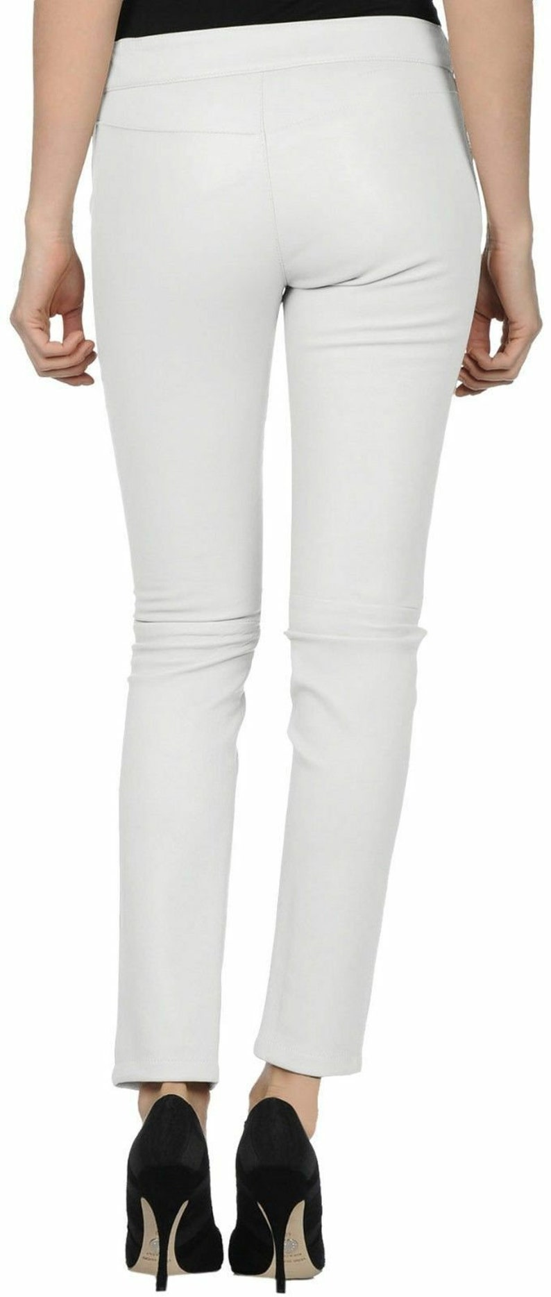 Womens100/% Genuine Lambskin Leather Crop Moto Trouser Pant New Designer Slim-fit