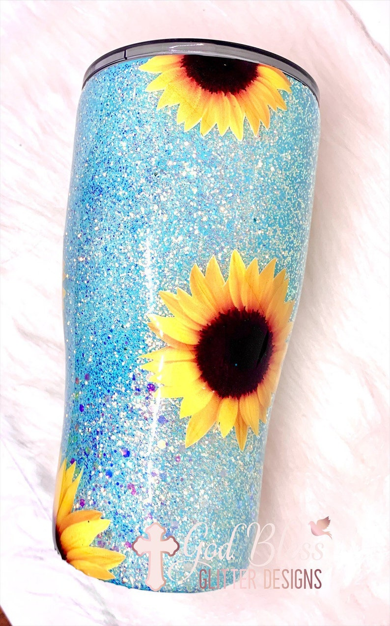Sunflower Tumbler Flower Tumbler Sunflower glitter cup | Etsy