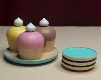 Muffin Set «Summer mood» / Wooden play kitchen / Wooden dishes / Wooden tea set / Play kitchen / Colored toy