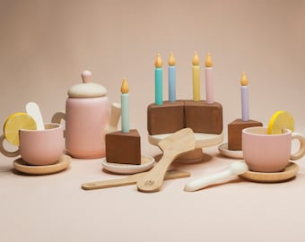 Tea Set with candles «Chocolate» Wooden play kitchen Wooden dishes Wooden tea set Play kitchen Colored toy