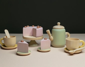 Tea Set «Dawn in the forest» / Wooden play kitchen / Wooden dishes / Wooden tea set / Play kitchen / Colored toy