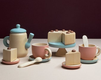 Tea Set «Sea breeze» / Wooden play kitchen / Wooden dishes / Wooden tea set / Play kitchen / Colored toy