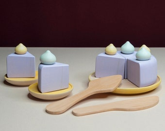 Cake with meringue «Marshmallow» / Wooden play kitchen / Wooden dishes / Wooden tea set / Play kitchen / Wooden Cake / Colored toy