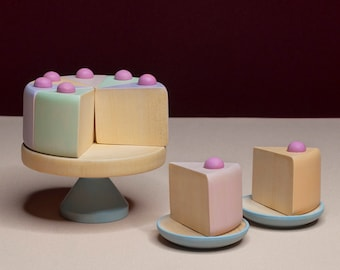 Cake Set «Marmalade» / Wooden play kitchen / Wooden dishes / Wooden tea set / Play kitchen / Wooden Cake / Colored toy