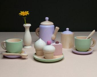 Tea Set «Spring morning» / Wooden play kitchen / Wooden dishes / Wooden tea set / Play kitchen / Colored toy