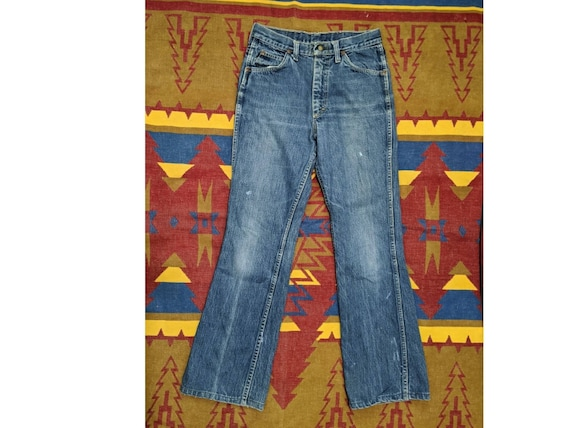 Vintage Ladies 1970's High Rise Flared Denim Jeans