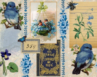 5 Junk Journal Pages, Vintage Blue Fern Bird and Butterflies, journal making, Journaling, Collage Sheets