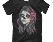 Day of the Dead Skull Makeup T-Shirt, Dia De Los Muertos Girl Tee