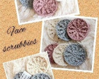 Cotton scrubbies, face pads, crochet scrubbies, reuseable face pads, makeup remover pads, crochet face pads, washable pads, gift for her