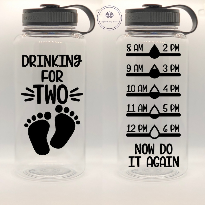 Drinking For Two 34 Oz Water Bottle w/ Water Tracker image 0