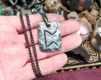 Hand Forged Steel and Carved Elk Horn Rune Stone Necklace Authentic Heathen Primitive