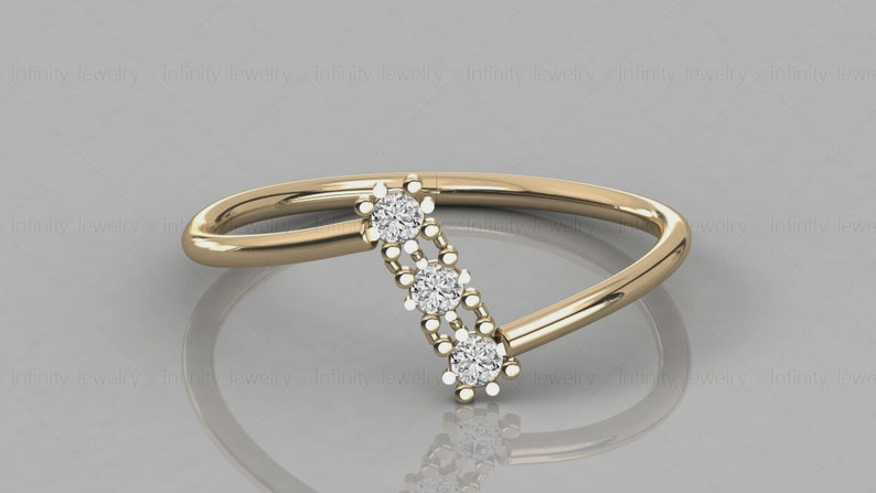 14k Gold Three Stone Natural Diamond Band  Zic Zac Stackable Ring