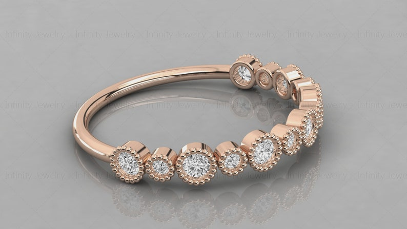 14k Gold Tiny Diamond Vintage Style Band  Stackable Ring