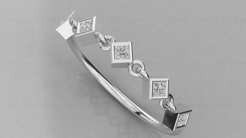 14k Gold Princess Cut Five Stone Diamond Ring  Minimalist Diamond ring  chain link style ring