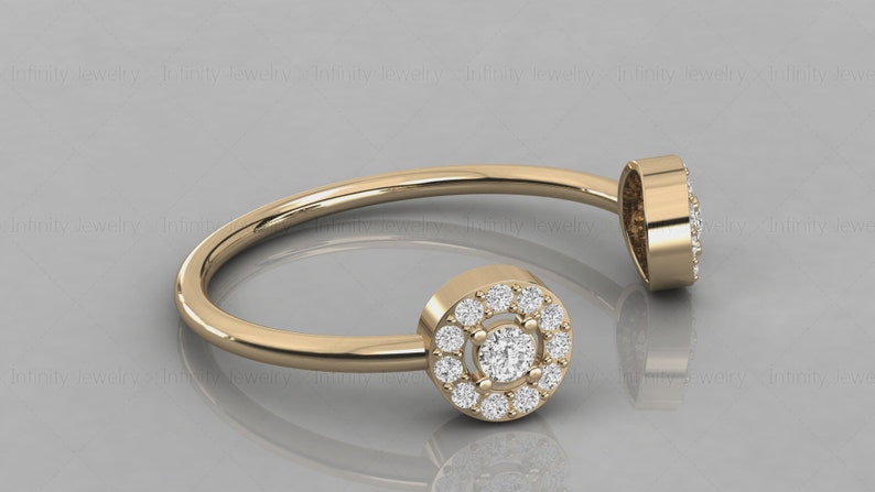 14k Gold Cuff Halo Diamond Open Design Ring