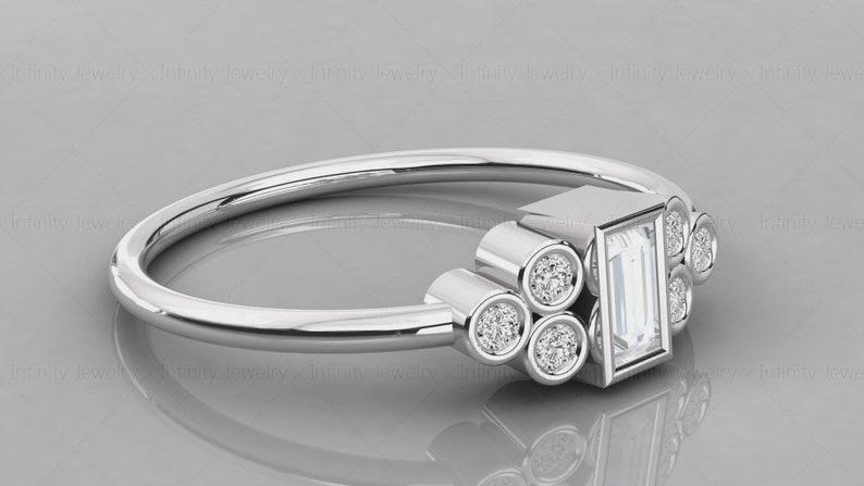 14K Solid Gold Natural Diamond Seven Stone Baguette Minimalist Diamond Ring