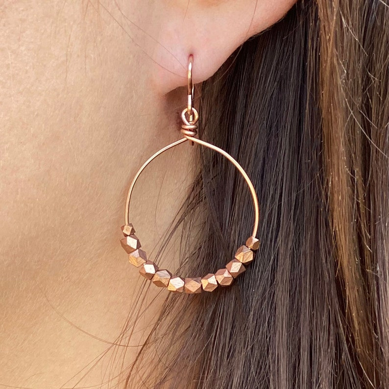 Rose Gold Hoops Earrings with Copper Beads Size Medium image 0