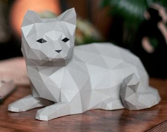 Papercraft Cat PDF Template, DIY paper Low Poly Cat, 3D Paper Sculpture Pattern