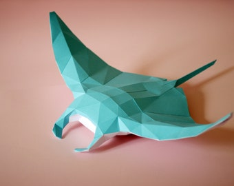 Papercraft Manta Ray Figure PDF Template, DIY Paper Low Poly Manta Ray Figure, 3D Paper Sculpture Pattern