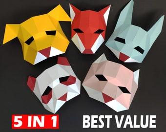 Papercraft Kids Masks PDF Template, DIY paper Low Poly Animal Masks, 3D Paper Mask Pattern