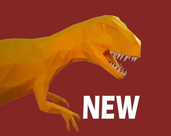 Papercraft Allosaurus PDF Template, DIY paper Low Poly Allosaurus Trophy, 3D Paper Sculpture Pattern