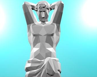 Papercraft Atlas Sculpture PDF Template, DIY paper Low Poly Atlas, 3D Paper Sculpture Pattern