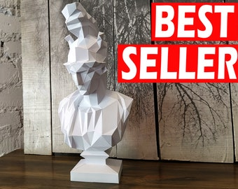 Papercraft Athene Bust PDF Template, DIY paper Low Poly Athene, 3D Paper Sculpture Pattern