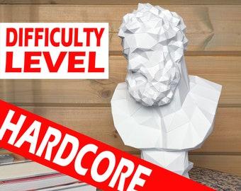 Papercraft Hercules bust PDF Template, DIY paper Low Poly Hercules, 3D Paper Sculpture Pattern