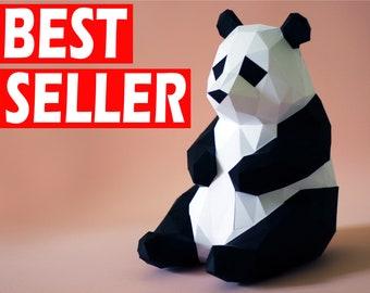 Papercraft Panda PDF Template, DIY Paper Low Poly Panda Bear, 3D Paper Sculpture Pattern