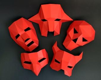 5 in 1 Halloween Monster Papercraft Masks PDF Template, DIY paper Low Poly Monster Masks, 3D Paper Mask Pattern