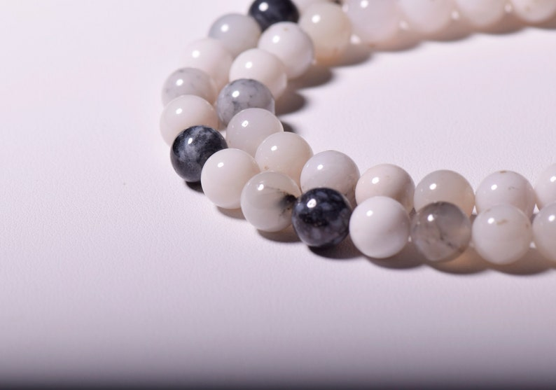 jewelry supply smooth round beads   6mm,8mm 15.5  6mm-8mm Natural Black White Agate  beads