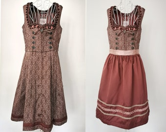 Damask and Polka Dot Print Dirndl Dress TrachtenFolkOktoberfestTyrolean 38 DE Shiny Dress Vintage Dusty Rose Dirndl Dress with Apron