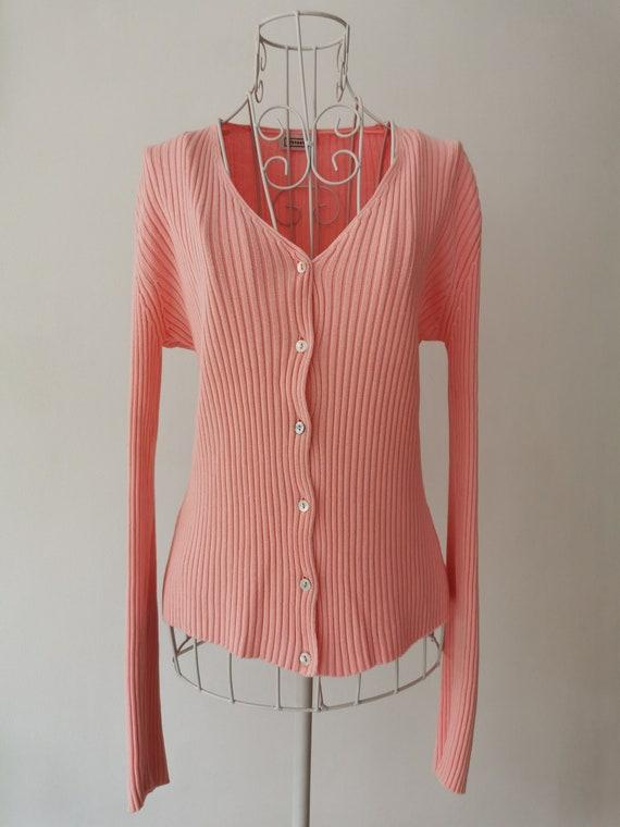 90's STEFANEL Pink Ribbed Knit Cardigan Sweater. V