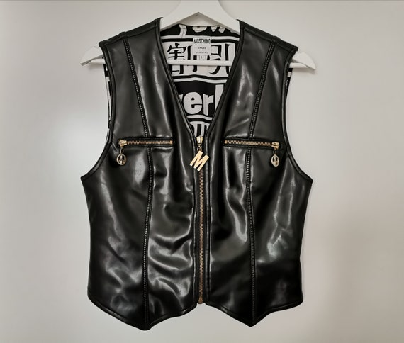 Vintage MOSCHINO Jeans Vest, Faux Leather Corset V