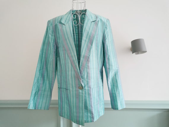 Vintage 80's Silk Boyfriend Jacket, Pastel Colors