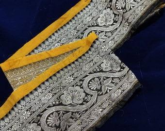 Brocade Craft Cloth 5 Yards Indian Vintage Saree Border With Pallu Antique Woven Brocade Sari Trim Vintage Banarasi Brocade Saree Border