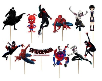 image regarding Free Printable Cupcake Wrappers and Toppers With Spiderman identified as Into the spiderverse Etsy