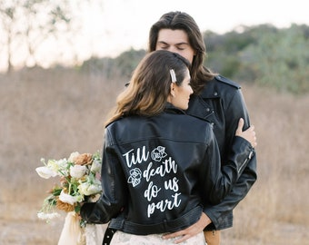 Till Death Do Us Part Leather Jacket - Day of the Dead Wedding - Gift for October Bride - Cute Leather Jacket