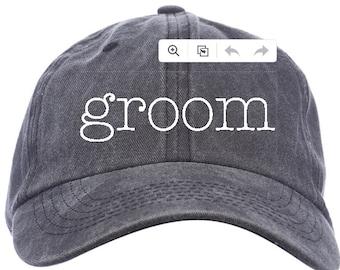 Groom Dad Hat - Hat for Grooms - Distressed Black Dad Hat - Cute Gift for Groom - Perfect Dad Hat - Engagement, Shower, Bachelor Gift
