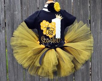 1st Birthday Bumblebee Embroidery Ribbon Tutu Combo