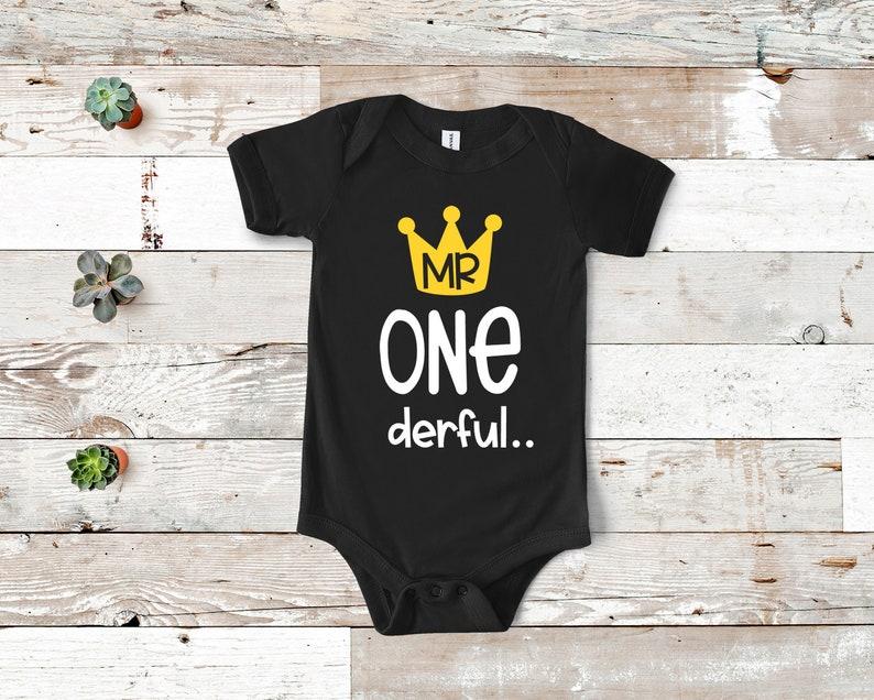 Birthday Onesie\u00ae First Birthday Onesie\u00ae First Birthday Boys First Birthday Boy Onesie\u00ae Mr Onederful Onesie\u00ae Black Onesie\u00ae