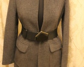 Moschino jeans Vintage women Coat wool grey jacket. Classic overcoat. Mod Minimalist casual clothing. Warm blazer. Size s m