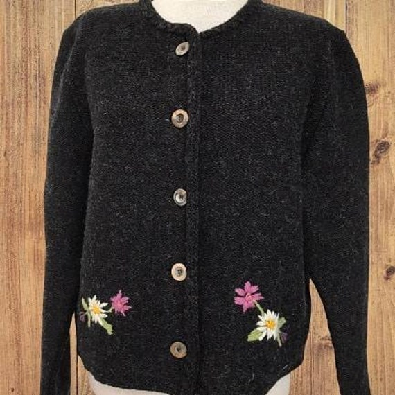Tyrolean knit sweater, wool sweater, Austrian Card